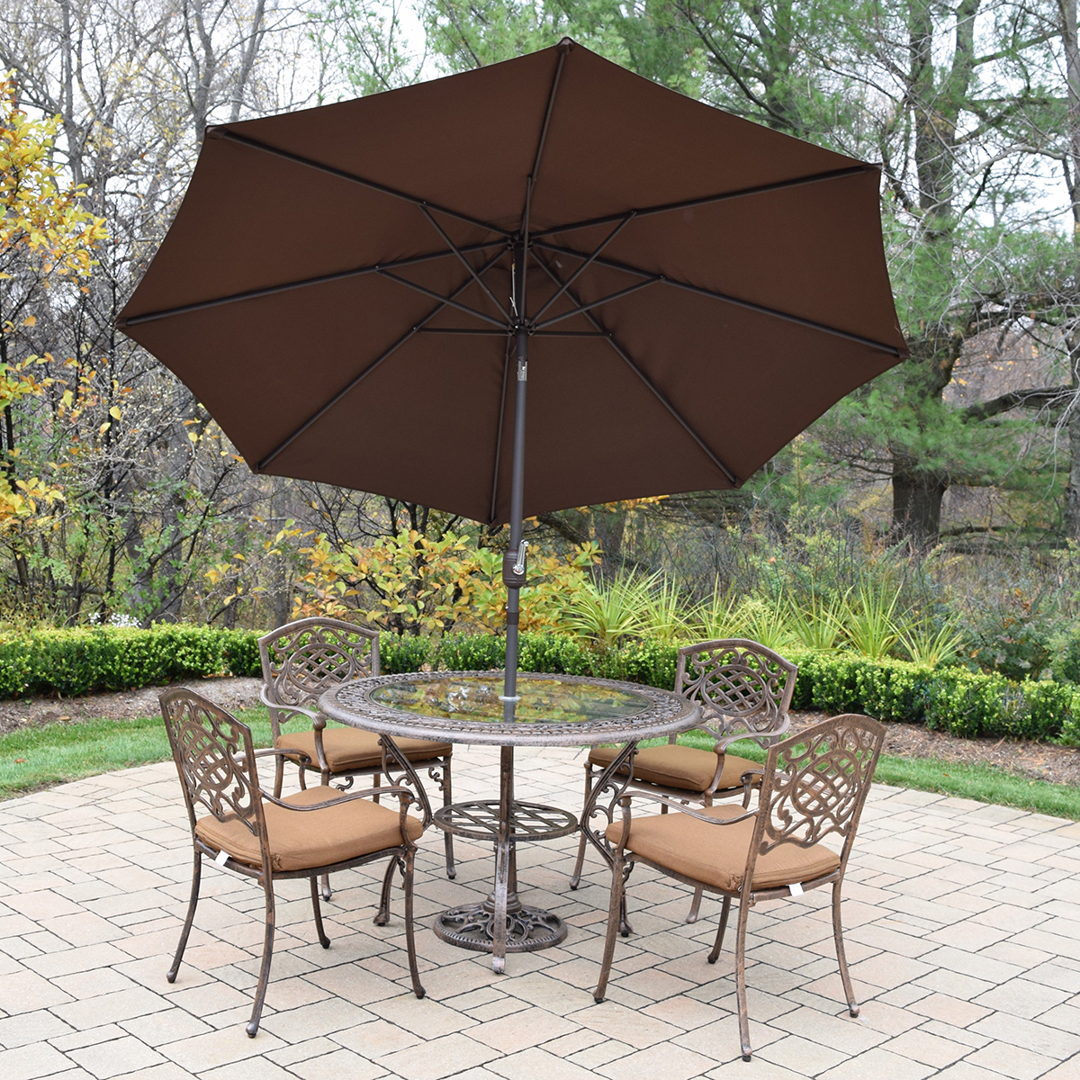 Oakland Living Mississippi 7 Pc Cast Aluminum Patio Set With 48