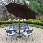 """Oakland Living Mississippi 7 Piece Cast Aluminum 48"""" Round Dining Table Set with 4 Cushioned Arm Chairs, Brown Umbrella and Metal Stand in Verdi Grey"""