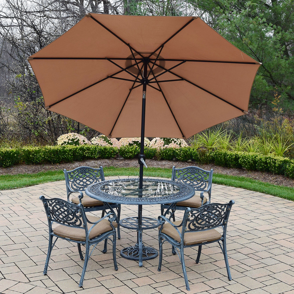 Oakland Living Mississippi 7PC Cast Aluminum Patio Set With 48 Round Ta
