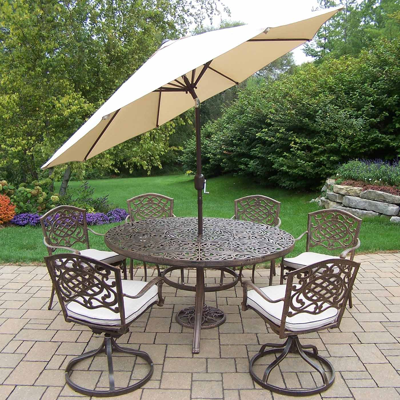 Breckenridge 4 Piece Patio Furniture Set Two Swivel: Oakland Living Mississippi 9-Piece Patio Dining Set With
