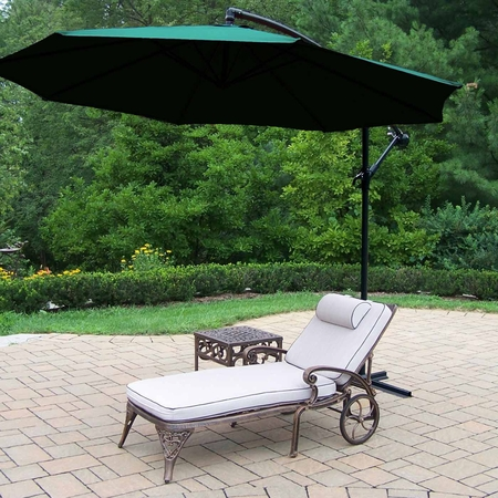 """Oakland Living Mississippi Aluminum 1 Cushioned Chaise Lounge with 18"""" table plus Green 10' Cantilever Umbrella in Antique Bronze"""