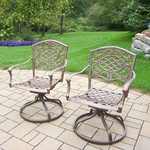 Oakland Living Mississippi Aluminum Swivel Rockers with Cushions - Set of 2 in Antique Bronze