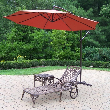 """Oakland Living Mississippi Cast Aluminum 1 Chaise Lounge and 18"""" Outdoor Side Table with Burnt Orange 10' Cantilever Umbrella"""