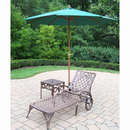 """Oakland Living Mississippi Cast Aluminum 1 Chaise Lounge and 18"""" Side Table Set with Green 9' Umbrella in Antique Bronze"""