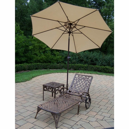 """Oakland Living Mississippi Cast Aluminum 1 Chaise Lounge Set with 18"""" Table and 9' Beige Tilt Umbrella and Stand in Antique Bronze"""