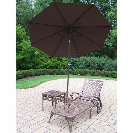 """Oakland Living Mississippi Cast Aluminum 1 Chaise Lounge Set with 18"""" Table and 9' Brown Tilt Umbrella and Stand in Antique Bronze"""