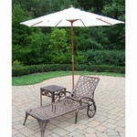 """Oakland Living Mississippi Cast Aluminum 1 Chaise Lounge Set with 18"""" Table and 9' White Tilt Umbrella and Stand in Antique Bronze"""