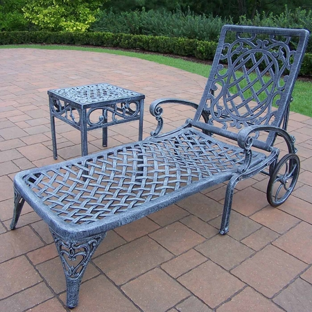 """Oakland Living Mississippi Cast Aluminum 1 Chaise Lounge with 18"""" Side Table in Verdi Grey"""
