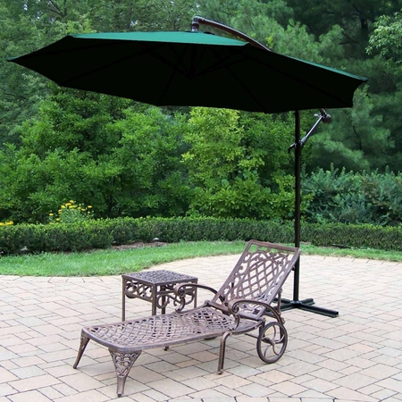"""Oakland Living Mississippi Cast Aluminum 1 Chaise with 18"""" side table and 10' Green Cantilever Umbrella in Antique Bronze"""