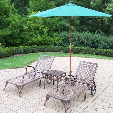 """Oakland Living Mississippi Cast Aluminum 2 Chaise Lounges with 18"""" Side Table plus Green Umbrella in Antique Bronze"""