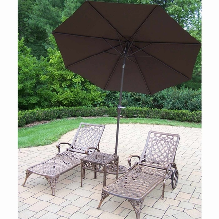 Oakland Living Mississippi Cast Aluminum 2 Chaise Lounges with Side Table and Brown Umbrella in Antique Bronze