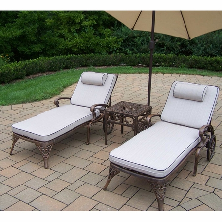 """Oakland Living Mississippi Cast Aluminum 2 Cushioned Chaise Lounge Set with 18"""" Table and 9' Beige Tilt Umbrella and Stand in Antique Bronze"""