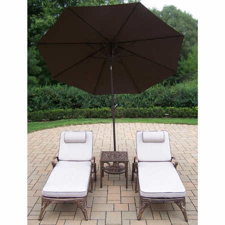 """Oakland Living Mississippi Cast Aluminum 2 Cushioned Chaise Lounge Set with 18"""" Table and 9' Brown Tilt Umbrella and Stand in Antique Bronze"""