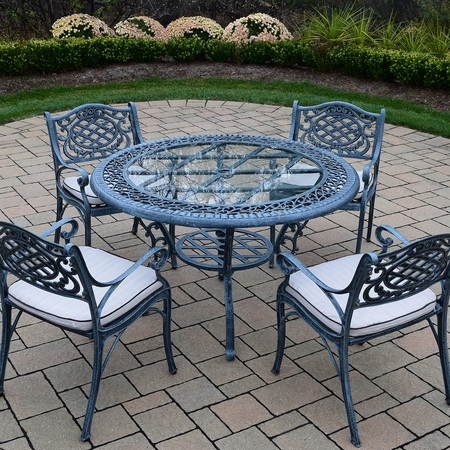Oakland Living Mississippi Cast Aluminum 5 Piece Patio Dining Set with 48 Inch Round Table and 4 Cushioned Arm Chairs in Verdi Grey