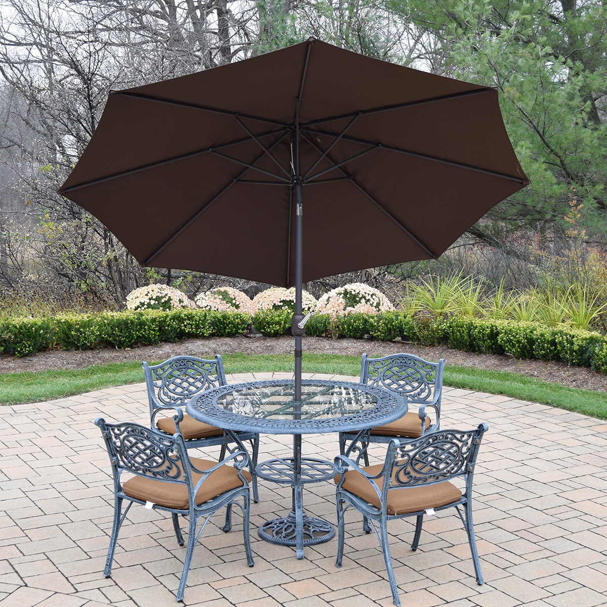 Cast Aluminum Patio Furniture Heart Pattern: Oakland Living Mississippi Cast Aluminum 7 Piece Patio