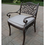 Oakland Living Mississippi Cast Aluminum Arm Chair with Cushion in Antique Bronze