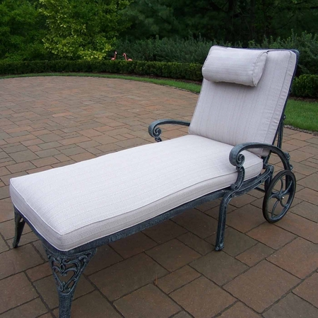 Oakland Living Mississippi Cast Aluminum Chaise Lounge with Cushion in Verdi Grey