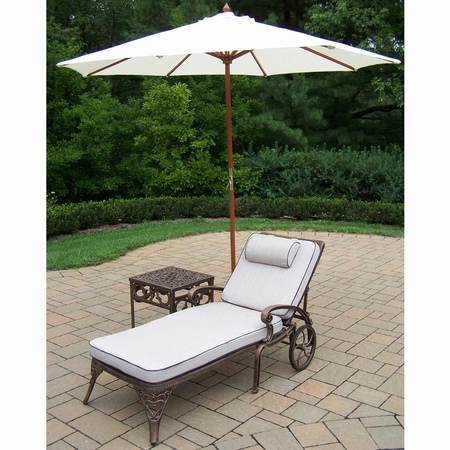 """Oakland Living Mississippi Cast Aluminum Cushioned Chaise Lounge Set with 18"""" Table and 9' White Tilt Umbrella and Stand in Antique Bronze"""