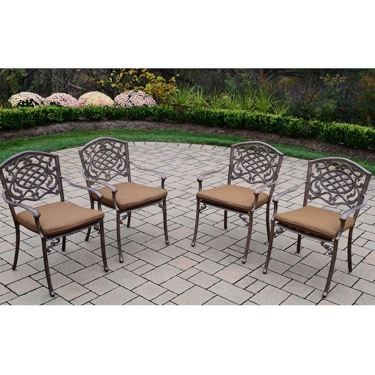 Oakland Living Mississippi Cast Aluminum Sunbrella Cushioned Stackable  Chairs   Set Of 4 In Antique Bronze