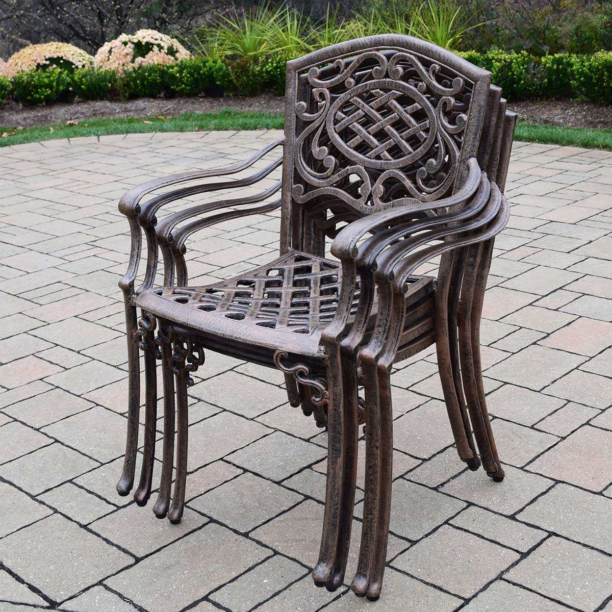 ... Oakland Living Mississippi Cast Aluminum Sunbrella Cushioned Stackable  Chairs   Set Of 4 In Antique Bronze
