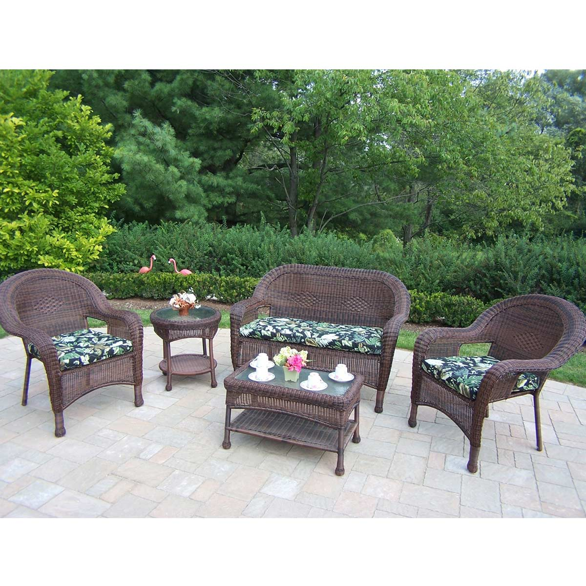 oakland living resin wicker 5 outdoor seating set