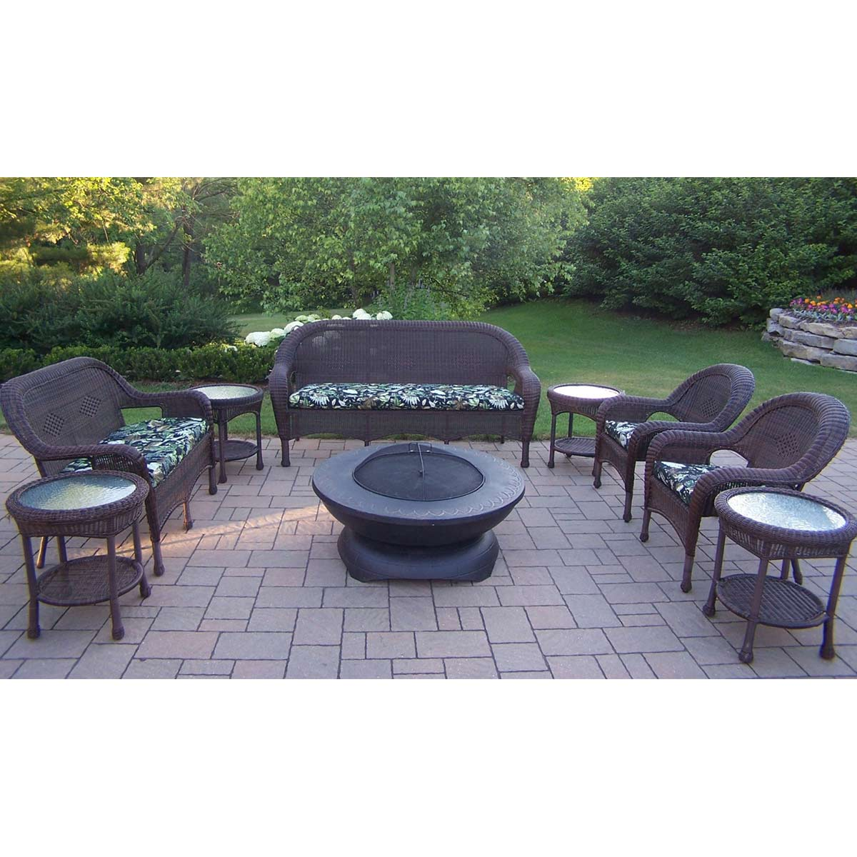 Oakland Living Resin Wicker Piece Seating Set With Aluminum - Resin wicker fire pit table