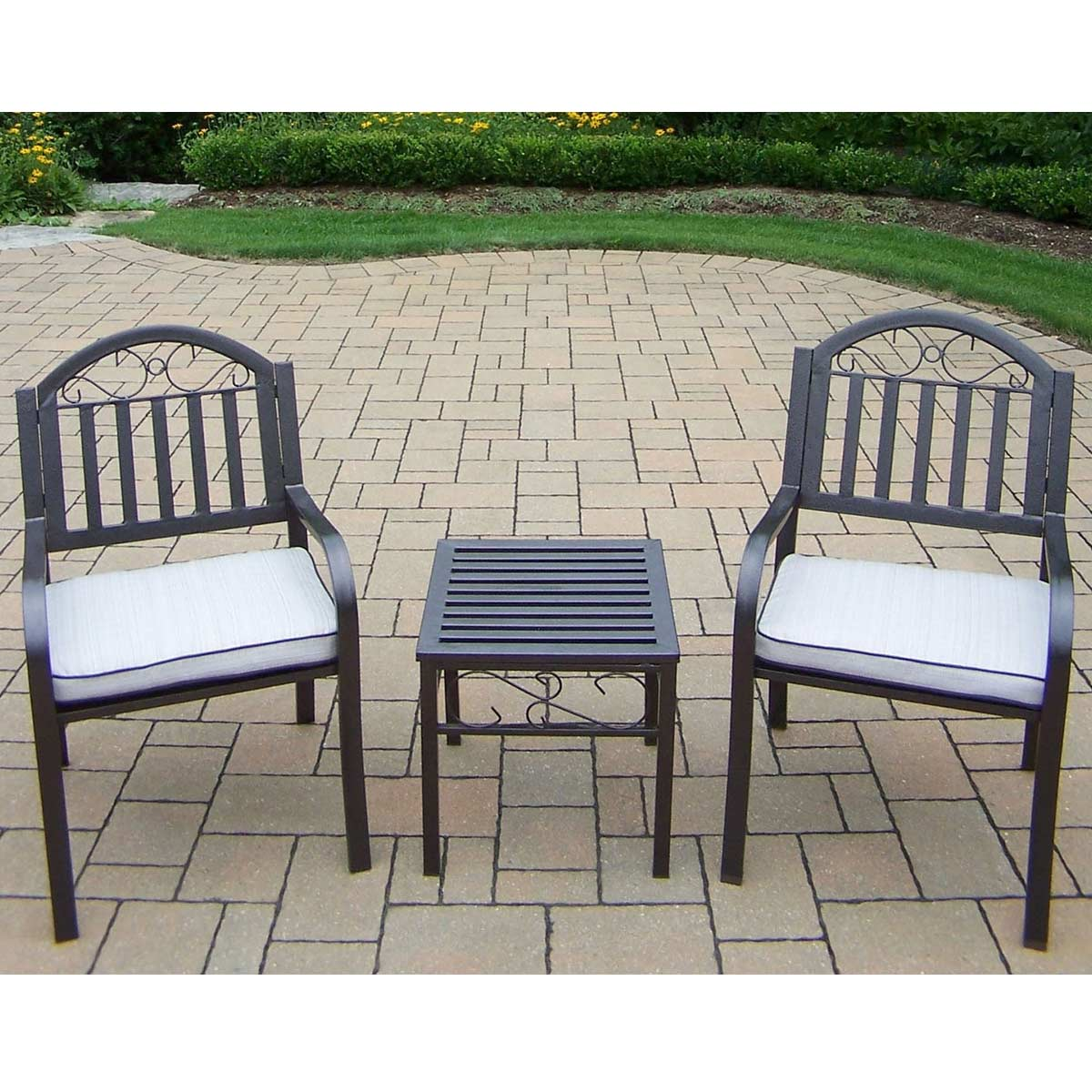 Oakland Living Rochester 3 Piece Chairs and Table Set with Cushions in Hammer
