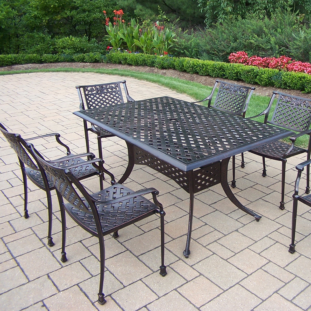 living rose 7 pc cast metal outdoor dining set with rectangular table