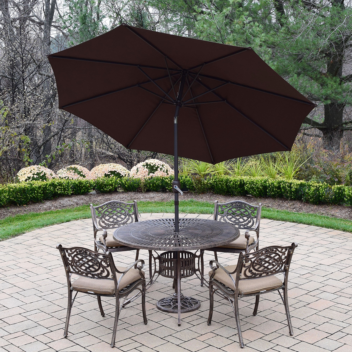"Oakland Living Sun Ray Mississippi 7 Pc Cast Aluminum Outdoor Dining Set with 48"" Table 4"