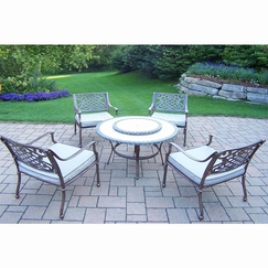 Oakland Living Tacoma 6 Piece Chat Set With 4 Deep Sitting Cushioned Cast  Aluminum Chairs In