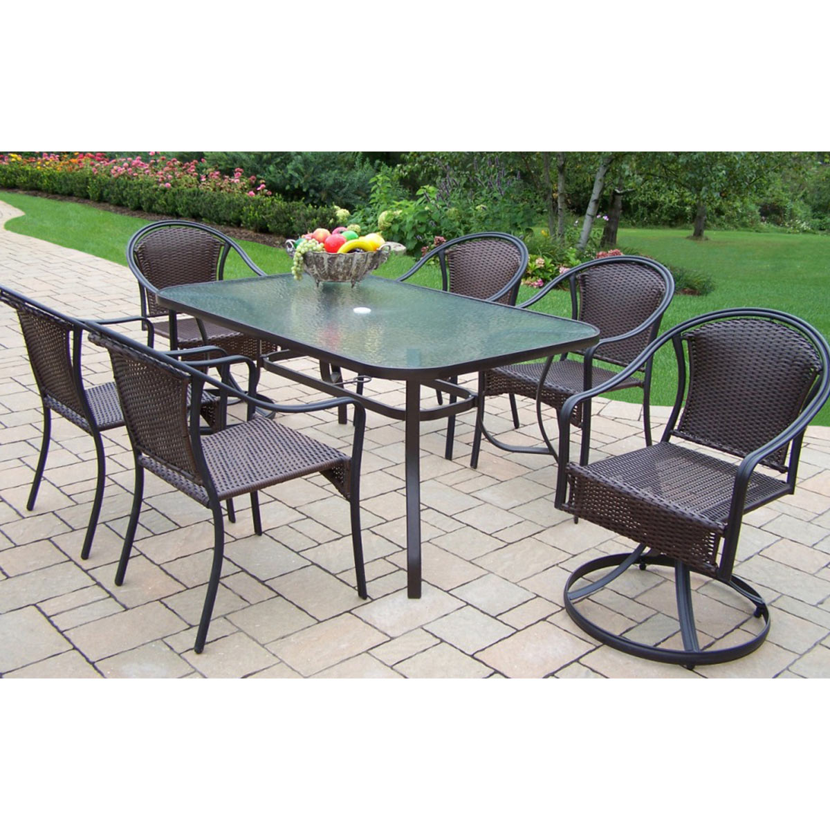 Oakland Living Tuscany 7 Piece Dining Set with 60 x 36  : oakland living tuscany 7 piece dining set with 60 x 36 tempered glass top table 2 swivel chairs and 4 stackable chairs in black 3 from www.simplypatiofurniture.com size 1200 x 1200 jpeg 234kB
