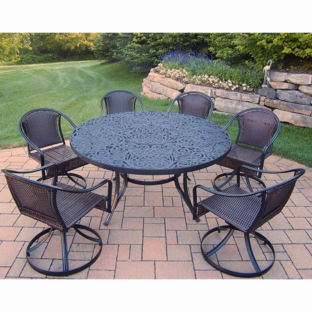 """Oakland Living Tuscany 7 Piece Patio Set with 60"""" Round Table and 6 Swivel Chairs in Black"""