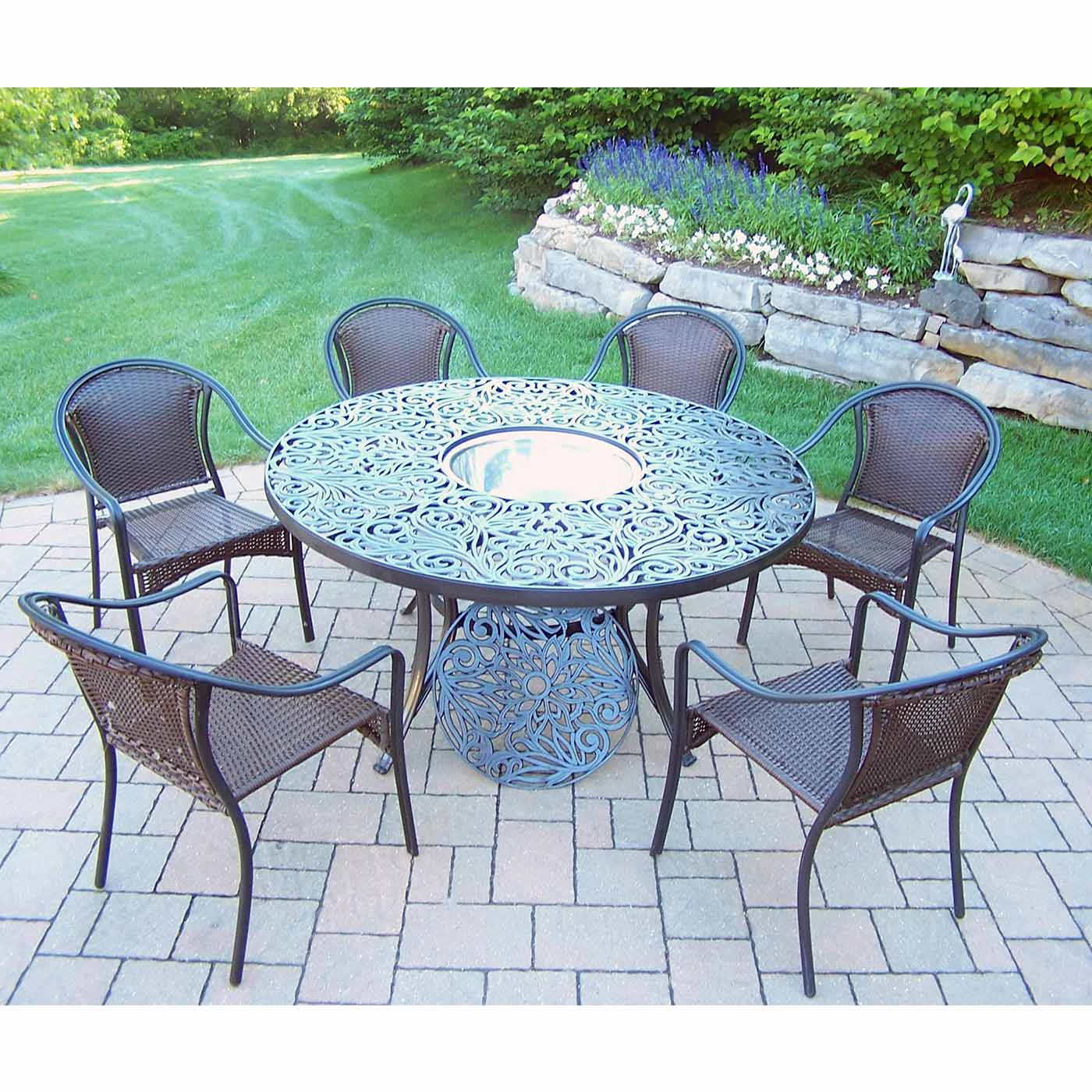 "Oakland Living Tuscany 8 Piece Black Patio Set with 60"" Round"