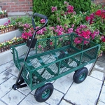 Oakland Living Utility Metal Garden Cart in Green