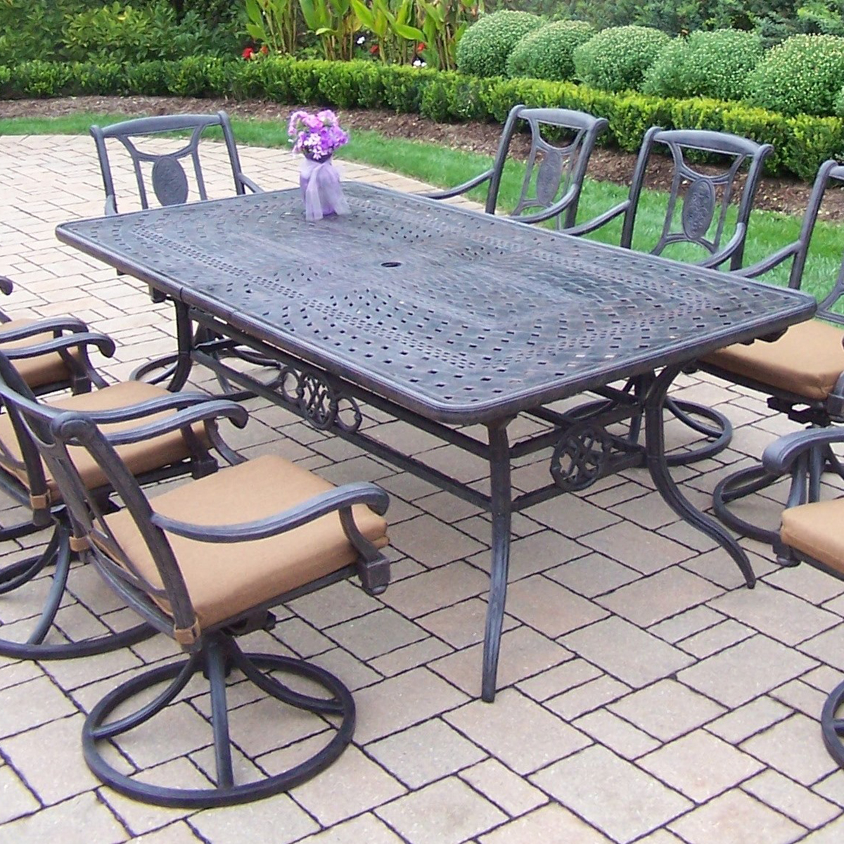 Oakland Living Victoria Aluminum Swivel Rocker 9 Piece Extendable Outdoor  Dining Set With 8 Stackable Chairs, 2 Swivel Rockers And Sunbrella Fabric  Cushions ...