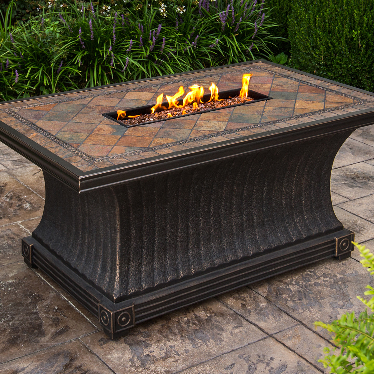 Oakland Living Vienna Gas Firepit Table Deep Seating 5 Pc