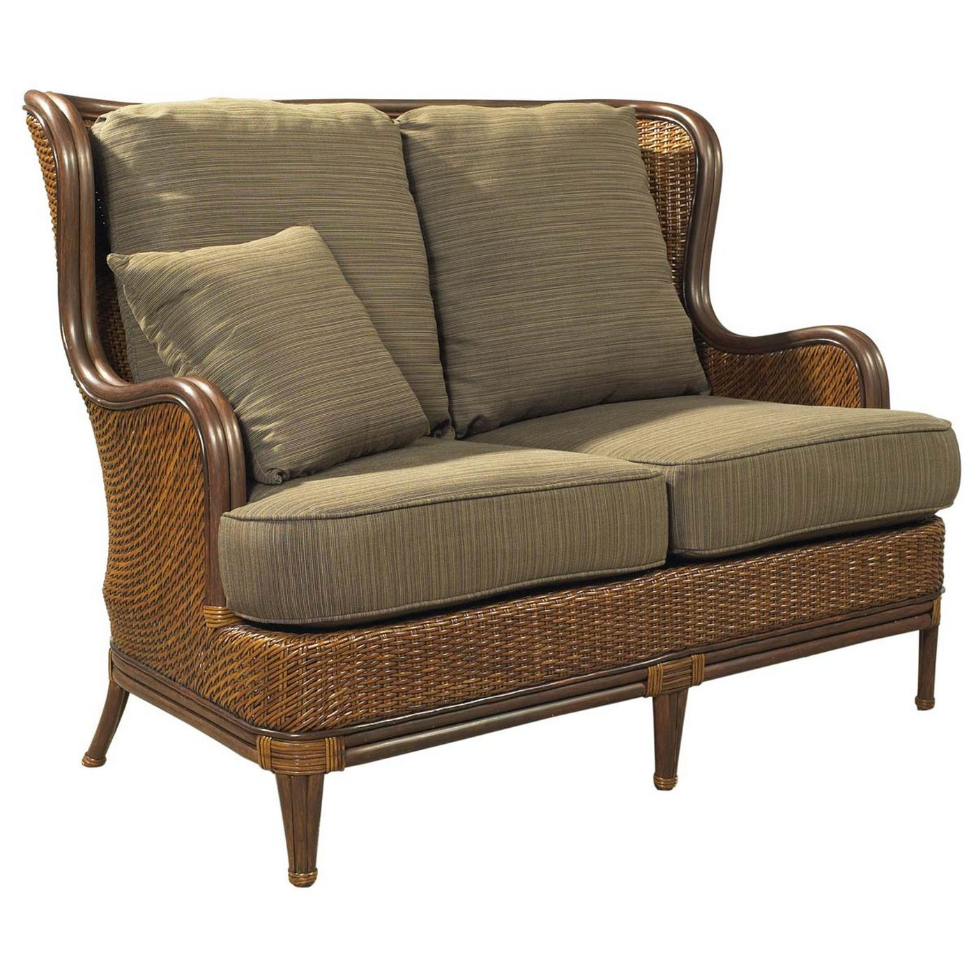 Padmau0027s Plantation Outdoor Palm Beach Loveseat In Natural Antique