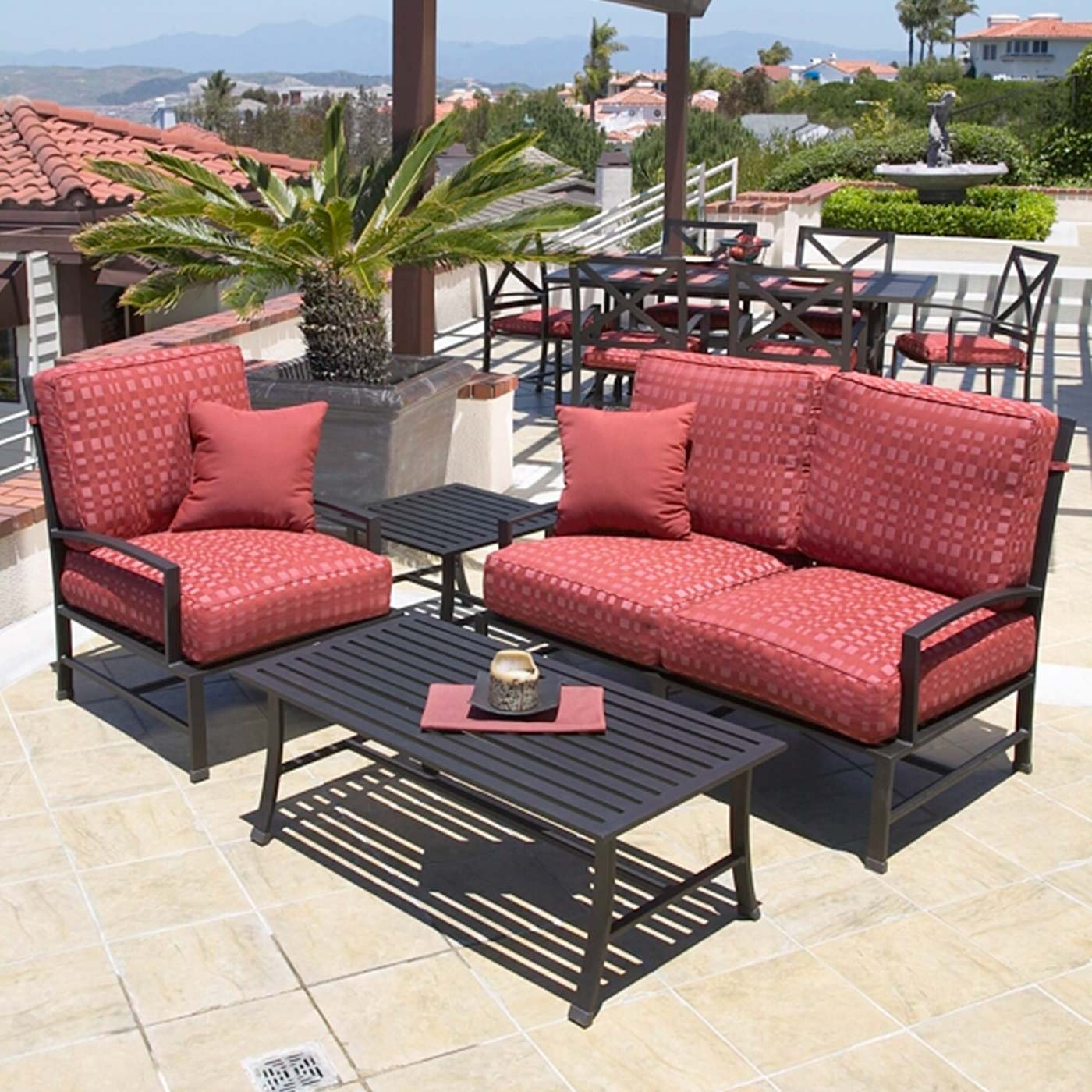 sunset west la jolla loveseat with cushions in espresso