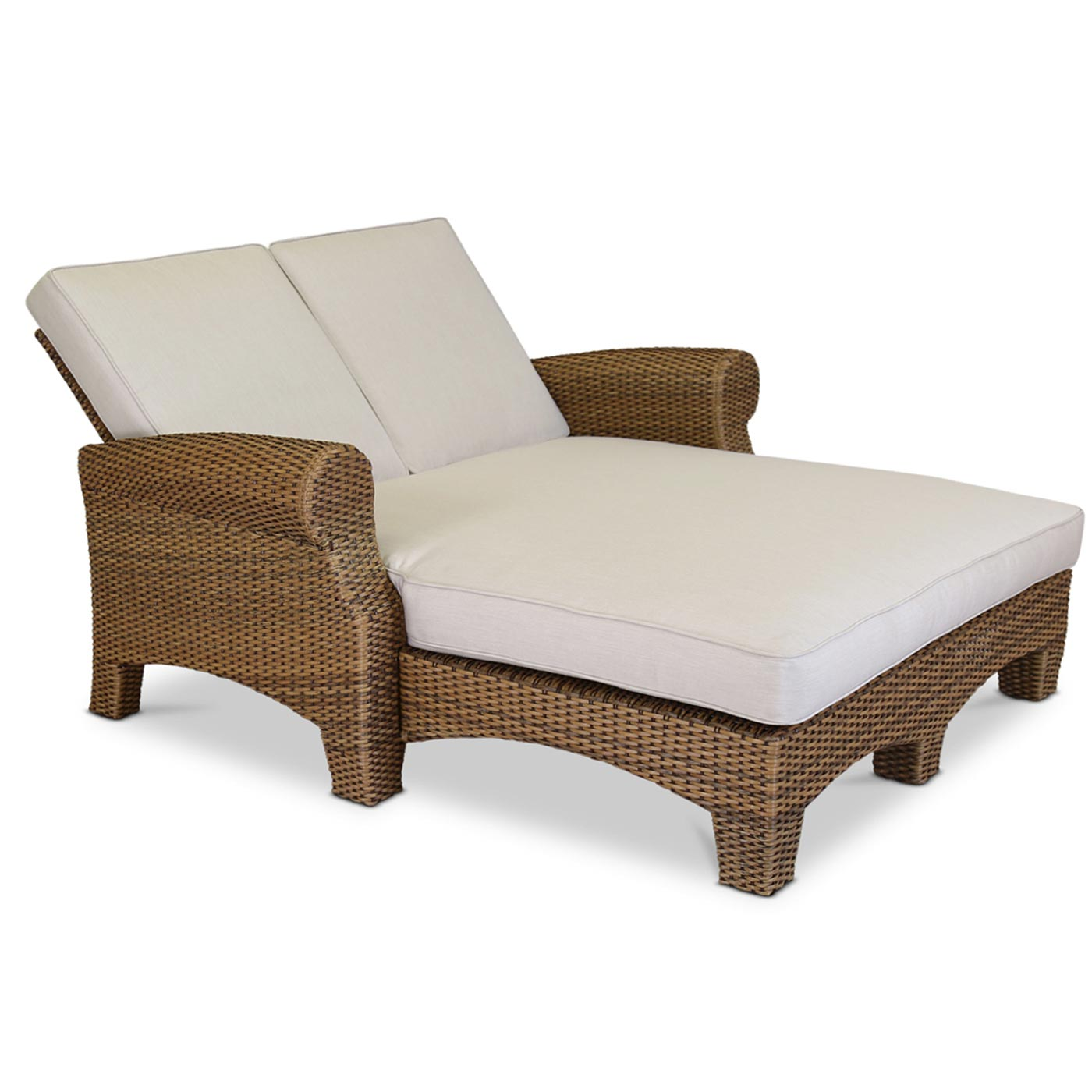 Sunset West Santa Cruz Double Chaise With Cushions In Caramel Free Shipping