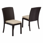 Sunset West Solana Armless Dining Chair with Cushions in Chocolate