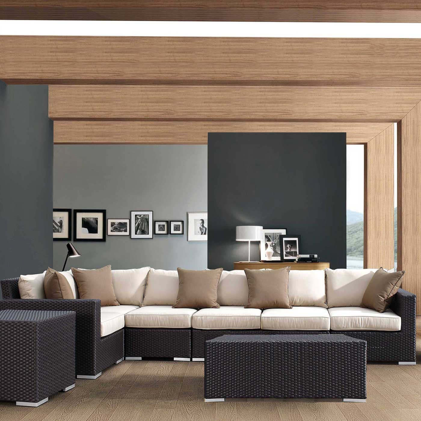 Sunset West Solana Sectional With Cushions In Chocolate Free Shipping