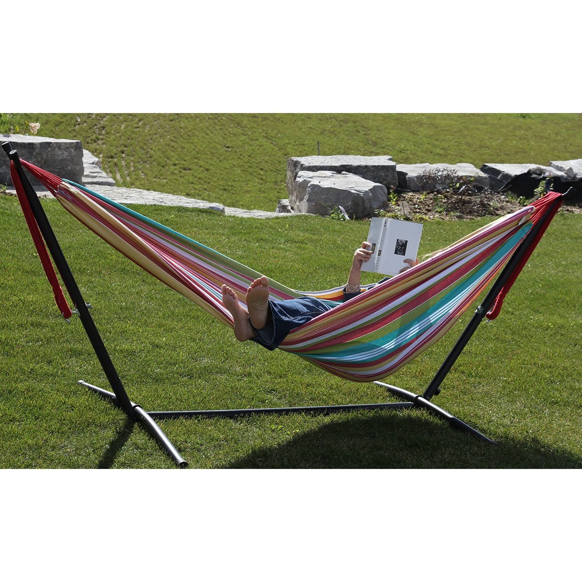 vivere double cotton hammock with 9ft stand  bo in salsa     vivere double cotton hammock with 9ft stand  bo in salsa free      rh   simplypatiofurniture