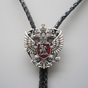 Antique Real Silver Plated Russian Double Headed Empire Eagle Rhinestone Bolo Tie Necklace
