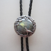 Antique Silver Plated Nature Labradorite Stone Moon Wolf Bolo Tie