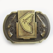 Antique Bronze Plated F Star Guns Lighter Belt Buckle