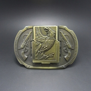 Antique Brass Plated Eagle Guns Lighter Belt Buckle