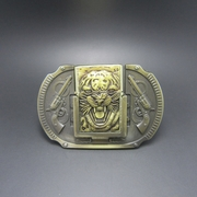 Antique Brass Plated Tiger Guns Lighter Belt Buckle