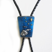 Blue Enamel Nation Native Flag Gold Star BoloTie