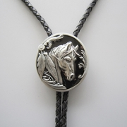 Black Western Horse Head Oval Wedding Bolo Tie Necklace
