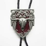 Vintage Red Enamel Long Horn Bull Western Bolo Tie Wedding Leather Necklace